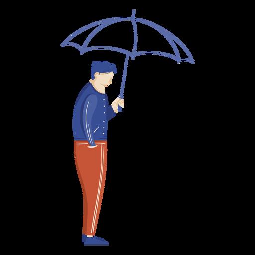 Chico con ilustración de paraguas
