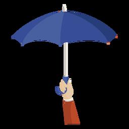 Mão segure a ilustração de guarda-chuva azul