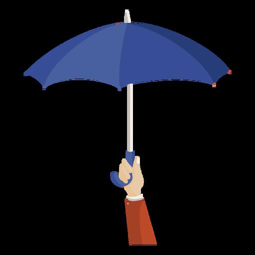 Hand hold blue umbrella illustration