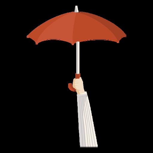 Hand holding red umbrella illustration