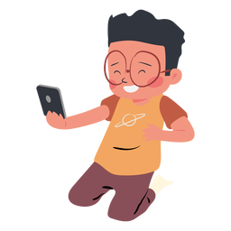 Happy boy cellphone character