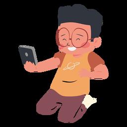 Personagem de celular menino feliz
