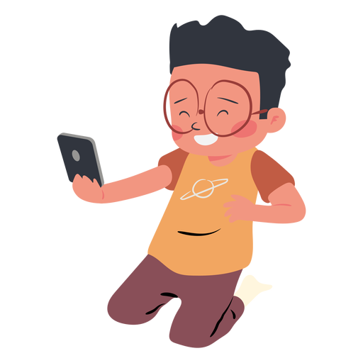 Happy boy cellphone character Transparent PNG
