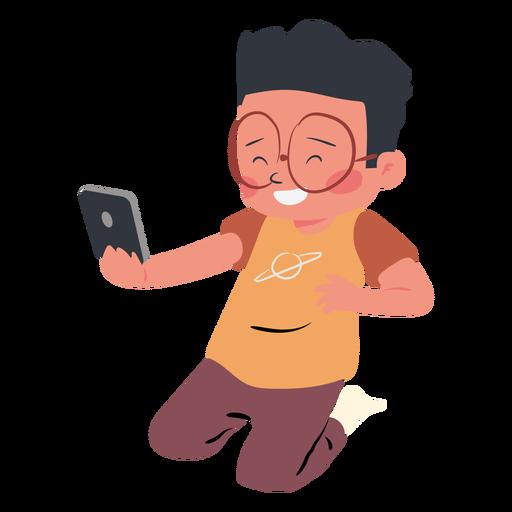 Personaje de teléfono móvil de niño feliz