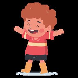 Niño feliz abrazo personaje
