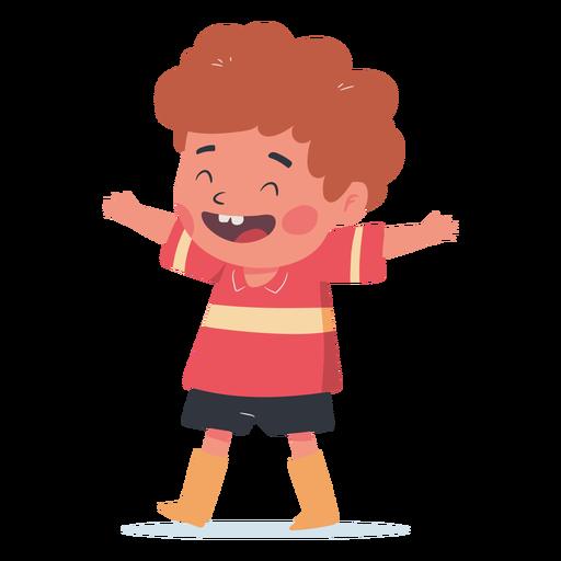 Happy boy hug character