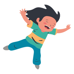 Happy girl jumping character