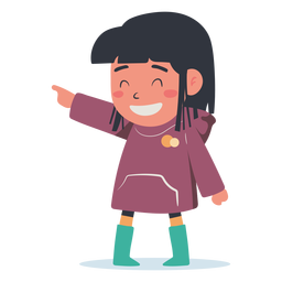 Happy girl pointing character