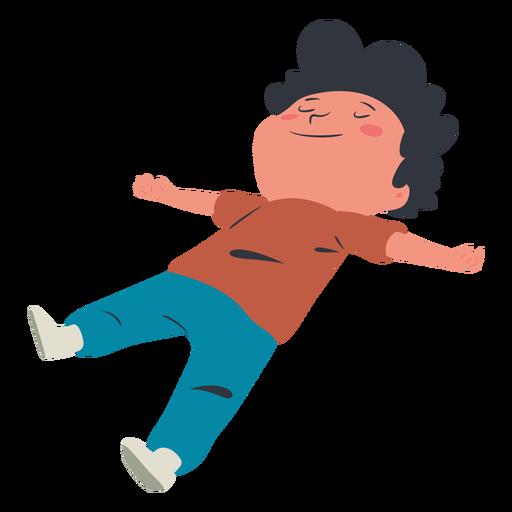 Happy kid lying character