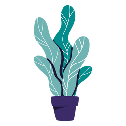 Houseplant blue pot illustration