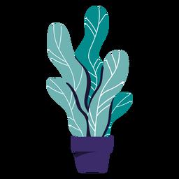 Ilustração de panela azul de planta de casa