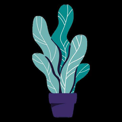 Ilustración de maceta azul de planta de interior