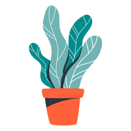 Houseplant red pot illustration