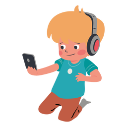 Personagem de fones de ouvido celular garoto