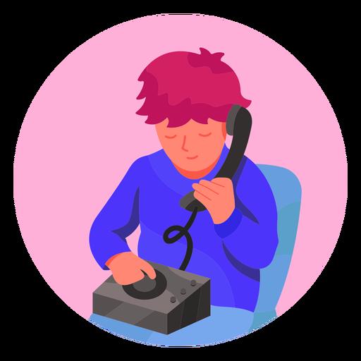 Niño en el personaje de teléfono