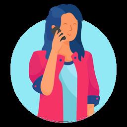 Dama en el personaje del teléfono