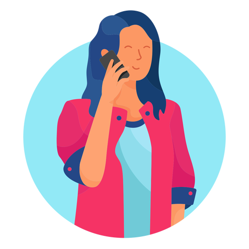 Lady on the phone character Transparent PNG