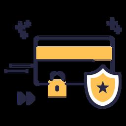 Icono de trazo de tarjeta de crédito bloqueado
