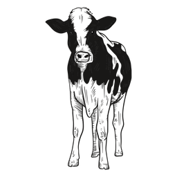 Ilustración de vaca mirando al frente
