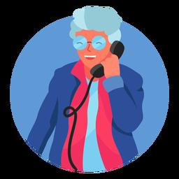 Mulher velha no caráter do telefone