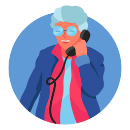 Old woman on the phone character