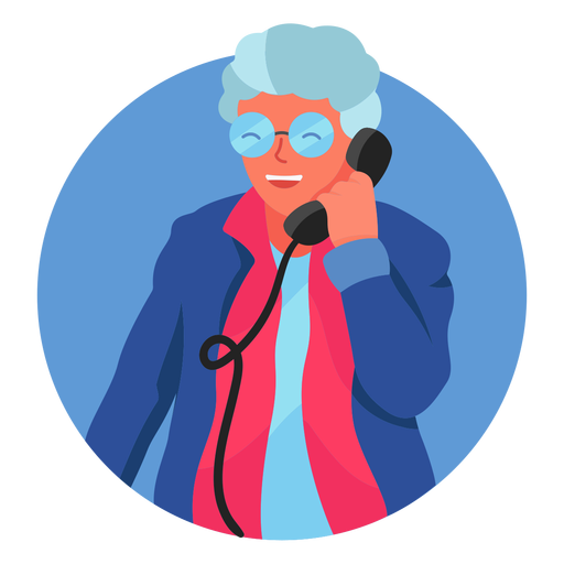 Old woman on the phone character Transparent PNG