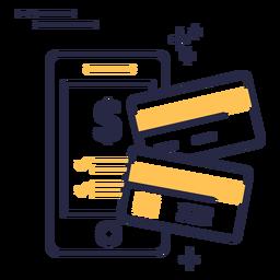 Ícone de traçado de cartões de crédito de compras online