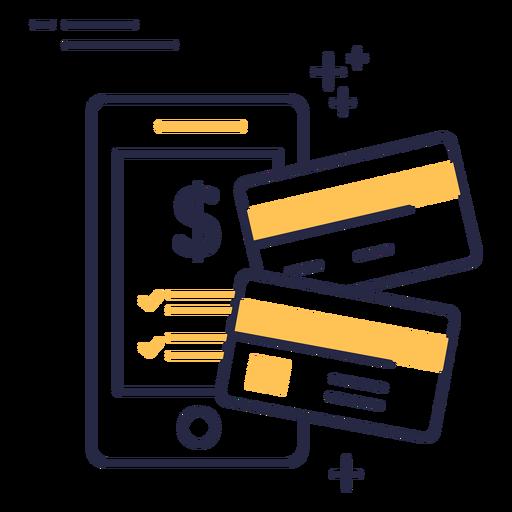 Icono de trazo de tarjetas de crédito de compras en línea