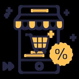 Ícone de traço de desconto de compras online