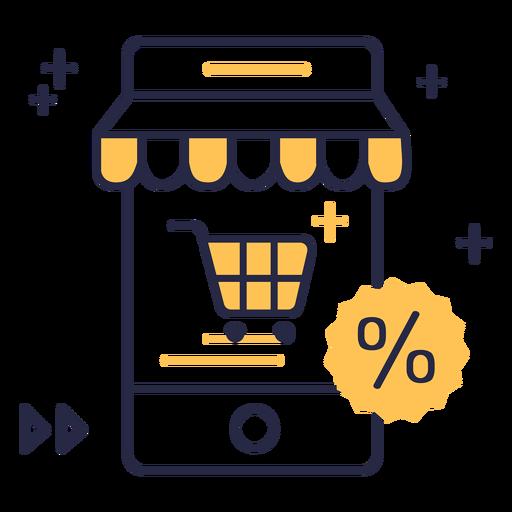 Icono de trazo de descuento de compras en línea