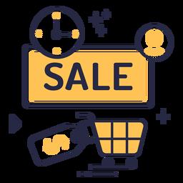 Ícone de traçado de venda de compras online