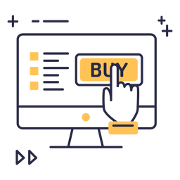 Ícone de traço de compras online