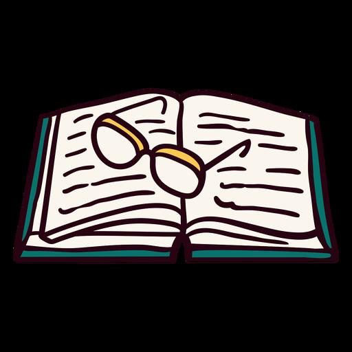 Ilustração de óculos de livro aberto