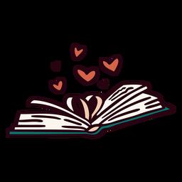 Ilustración de corazones de libro abierto