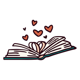 Open book hearts illustration