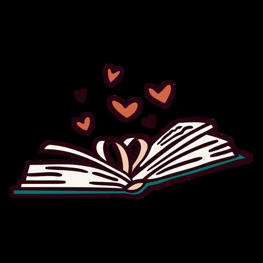 Open book hearts illustration