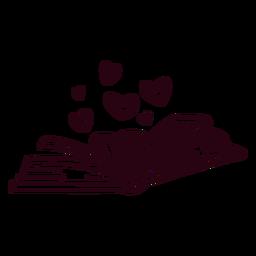Trazo de corazones de libro abierto