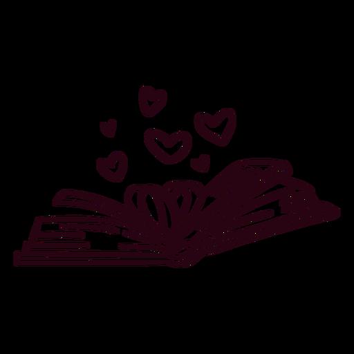 Libro abierto corazones trazo Transparent PNG