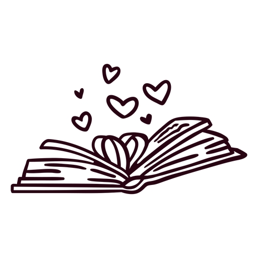 Open book hearts stroke
