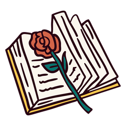 Open book rose illustration