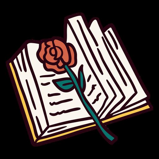 Open book rose illustration