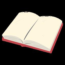 Libro escolar abierto rojo plano