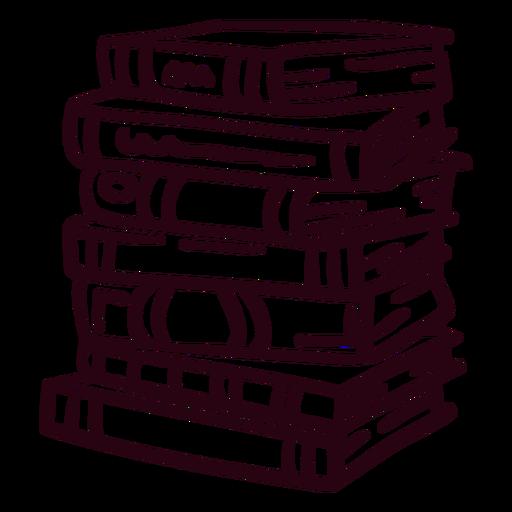 Pile of books stroke