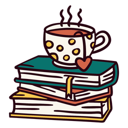 Pile of books tea illustration