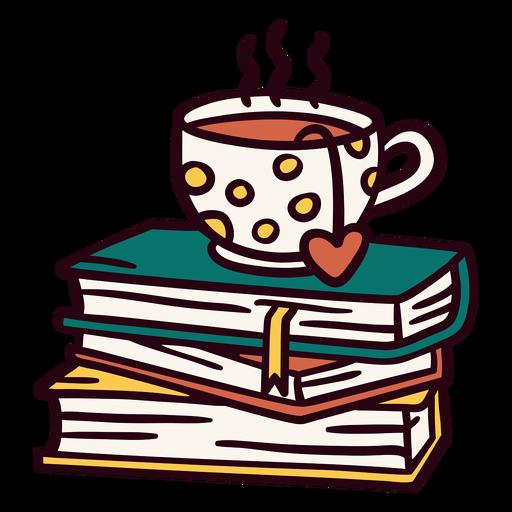 Pile of books tea illustration