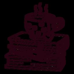 Pilha de derrame de chá de livros