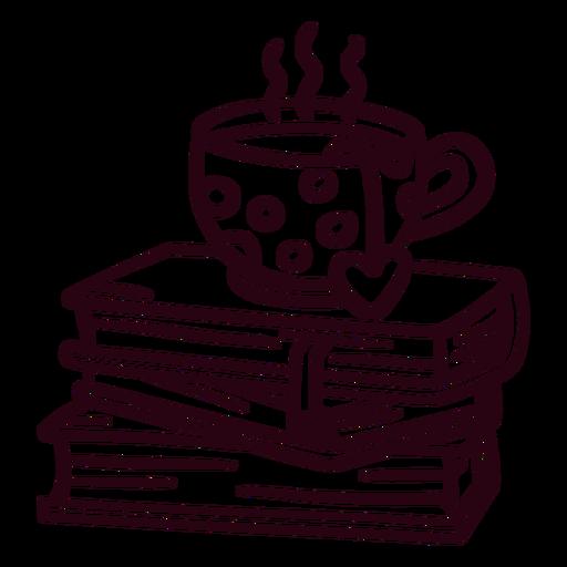 Pila de libros trazo de té