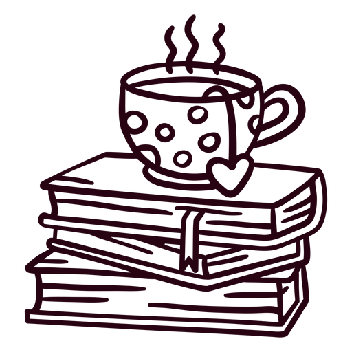 Pile of books tea stroke Transparent PNG