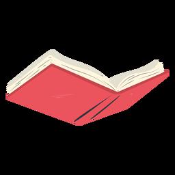 Livro aberto da escola vermelho plana