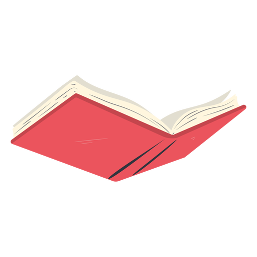 Red school book open flat Transparent PNG